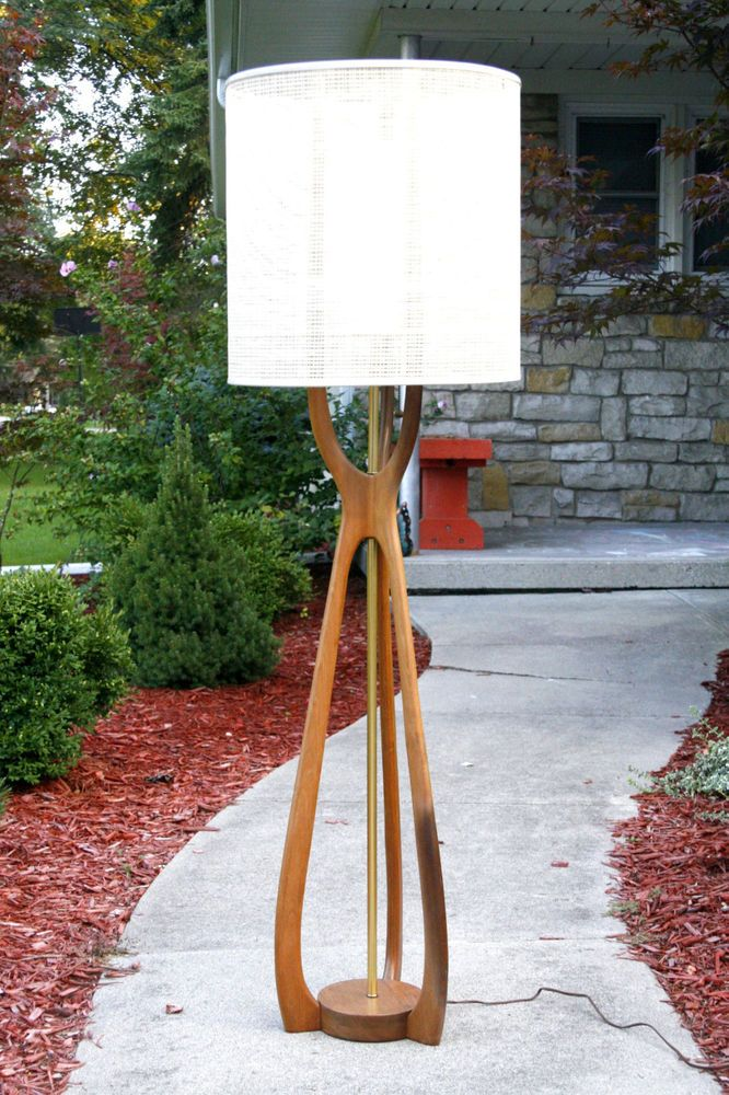 Modeline Mid Century Modern Walnut Floor Lamp Sculptural Rocket