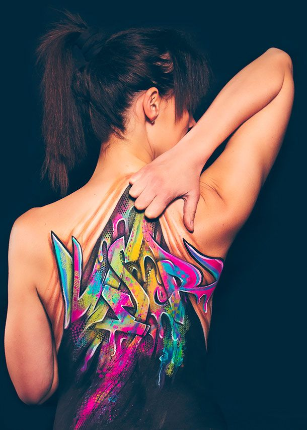 Graffiti Pretty Girl Illusion And Body Painting Pintura De