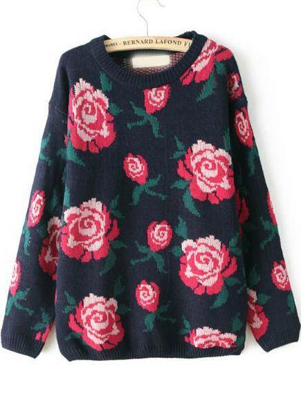 8048e010d4 Shop Navy Long Sleeve Rose Pattern Knit Sweater online. Sheinside offers  Navy Long Sleeve Rose Pattern Knit Sweater   more to fit your fashionable  needs.