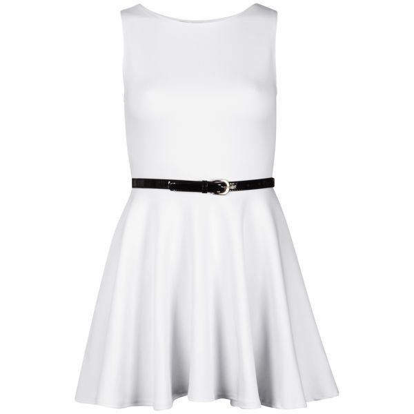 Influence Women's Belted Scuba Skater Dress ($11) ❤ liked on Polyvore