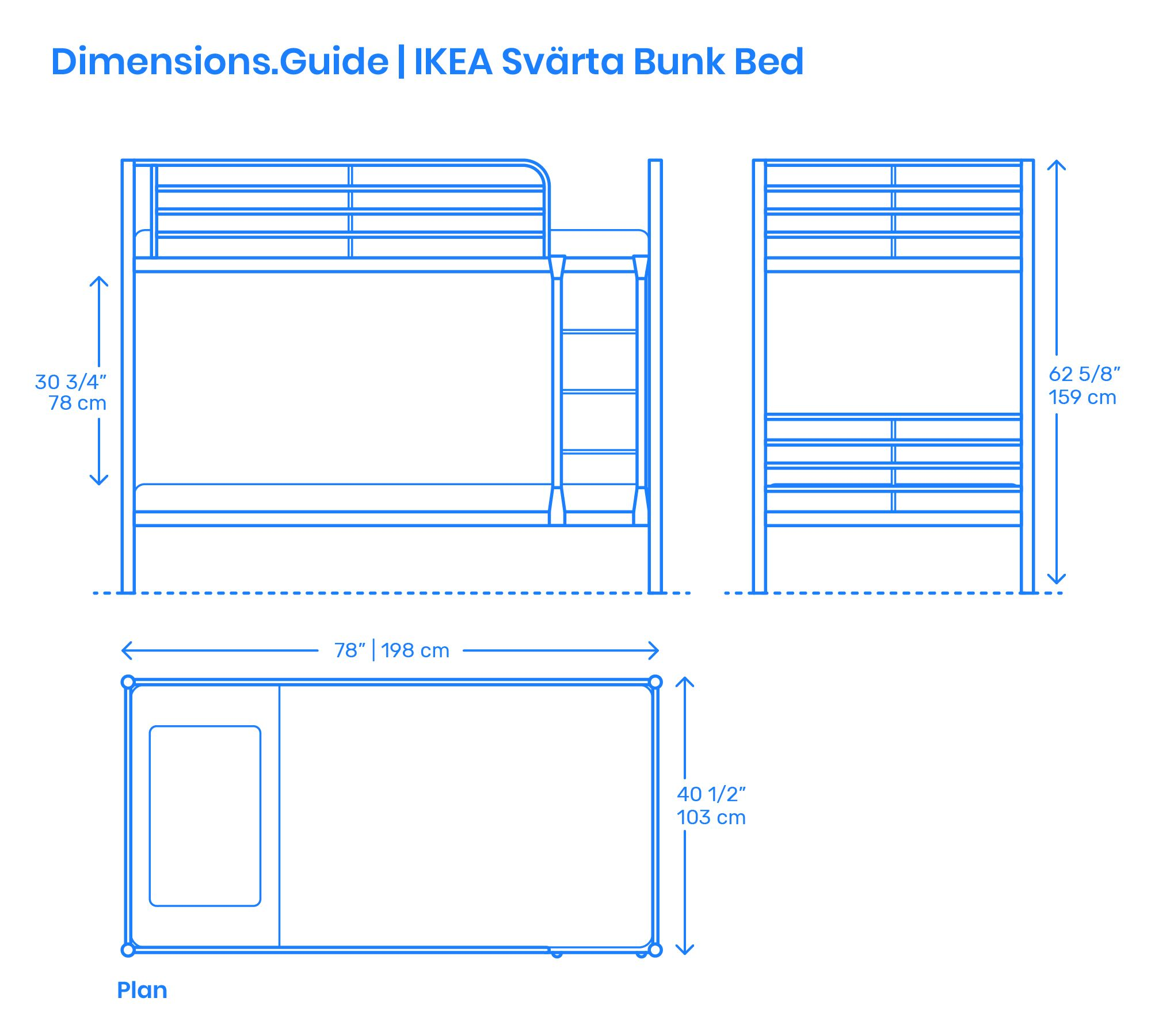 The IKEA Svärta Bunk Bed is a streamlined steel framed