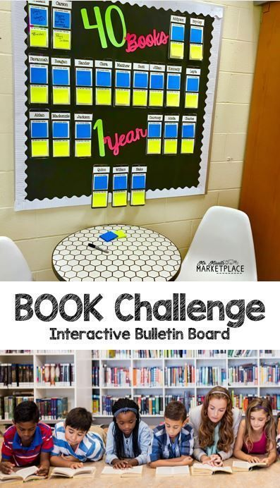 Back to School 40 Book Challenge Bulletin Board is part of 40 book challenge bulletin board, 40 book challenge, Book challenge, 6th grade reading, Reading bulletin boards elementary, 3rd grade books - Back to school time is overwhelming, but this back to school bulletin board is perfect to help get ready for a reading challenge to use with your students