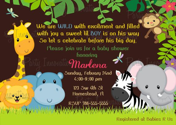 Safari Jungle Animals Baby Shower Invitation - DIY Print Your Own - new jungle powerpoint template
