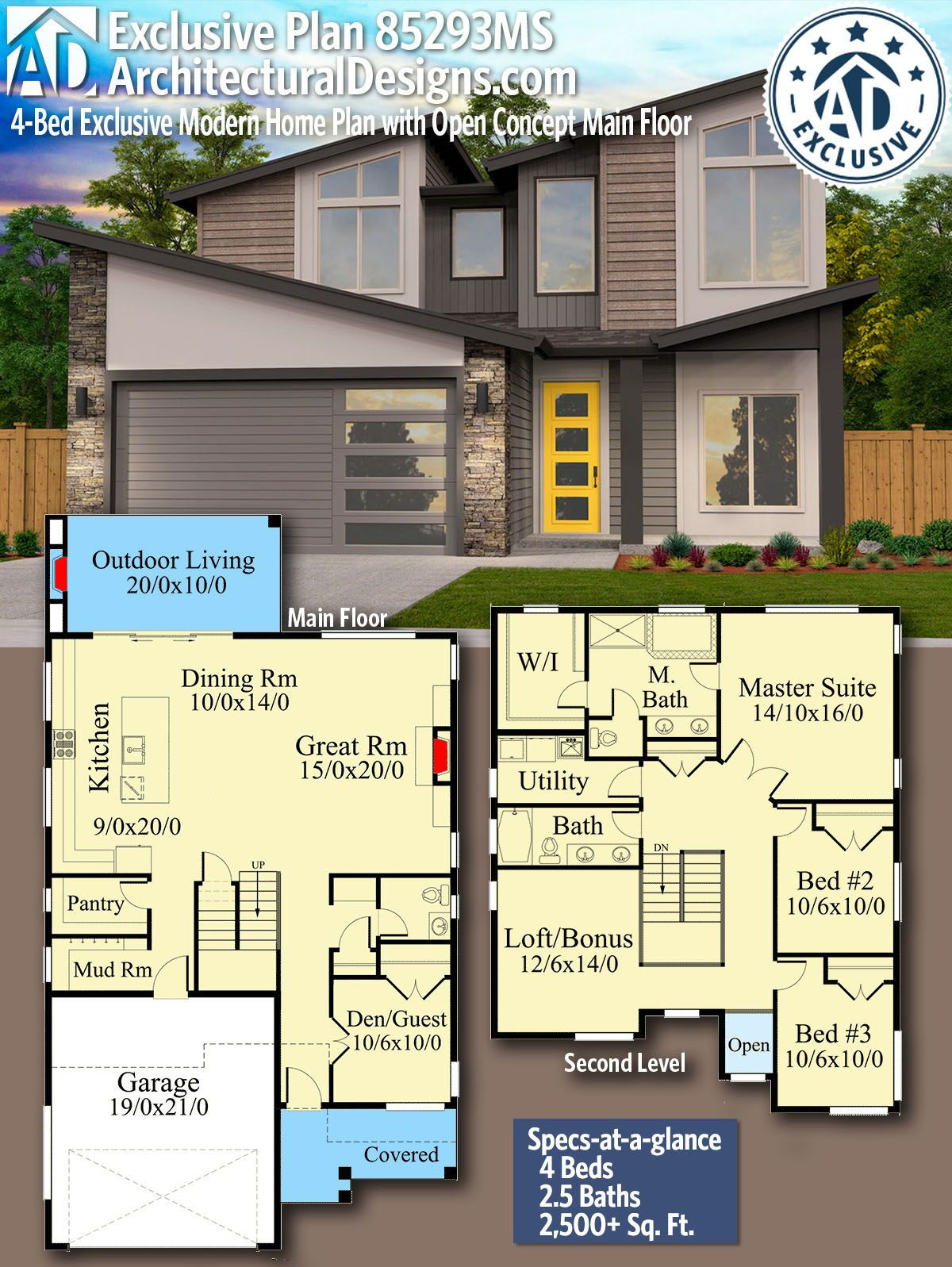 Plan 85293ms 4 Bed Exclusive Modern Home Plan With Open Concept Main Floor House Plans Modern House Plans Modern House
