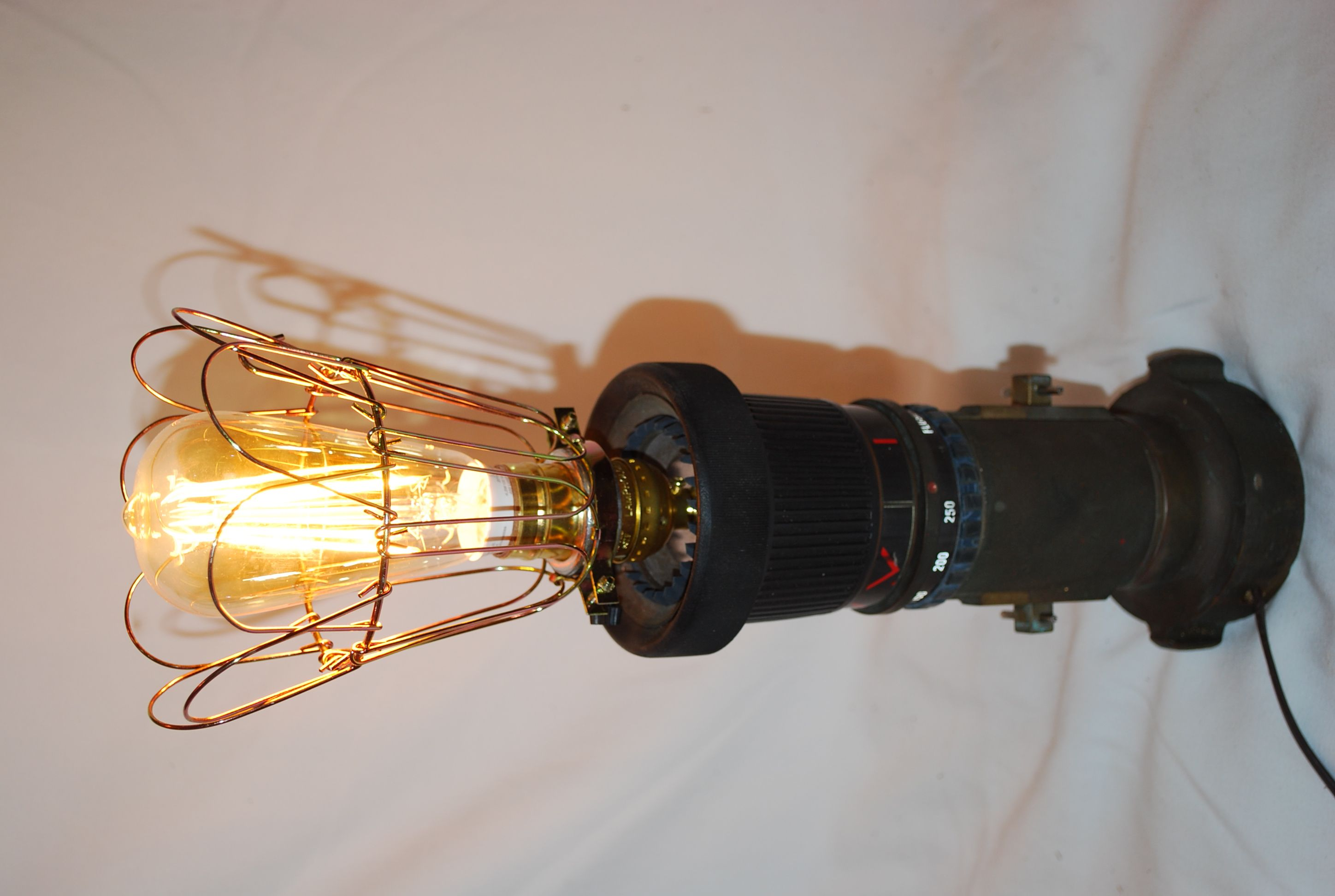 Lamp Made From Old Fire Nozzle Using An Led Edison Bulb Adds To The Antique Look Lamp Mason Jar Lamp Edison Light Bulbs