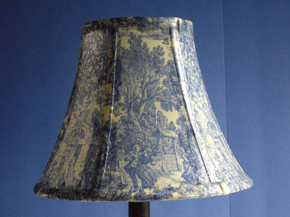 Decoupage Lampshade using Blue Toile Paper by pbaillargeon