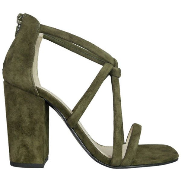 Iris footwear designer inka khaki suede knotted heel ($169) ❤ liked on Polyvore featuring shoes, pumps, leather sole shoes, high heel court shoes, high heeled footwear, suede shoes and khaki shoes
