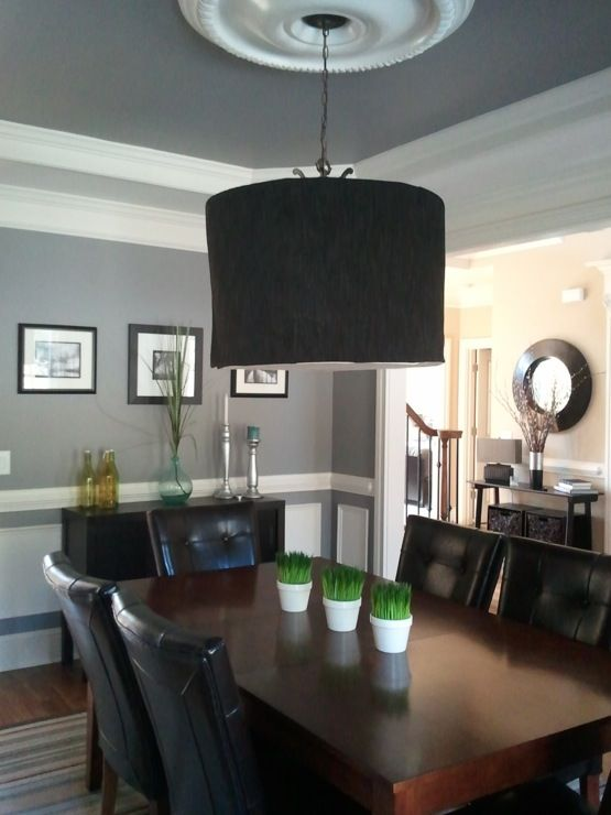 Dining Rooms   Martha Stewart Cement Gray, Gray, Pendant Chandelier, Buffet  Table,
