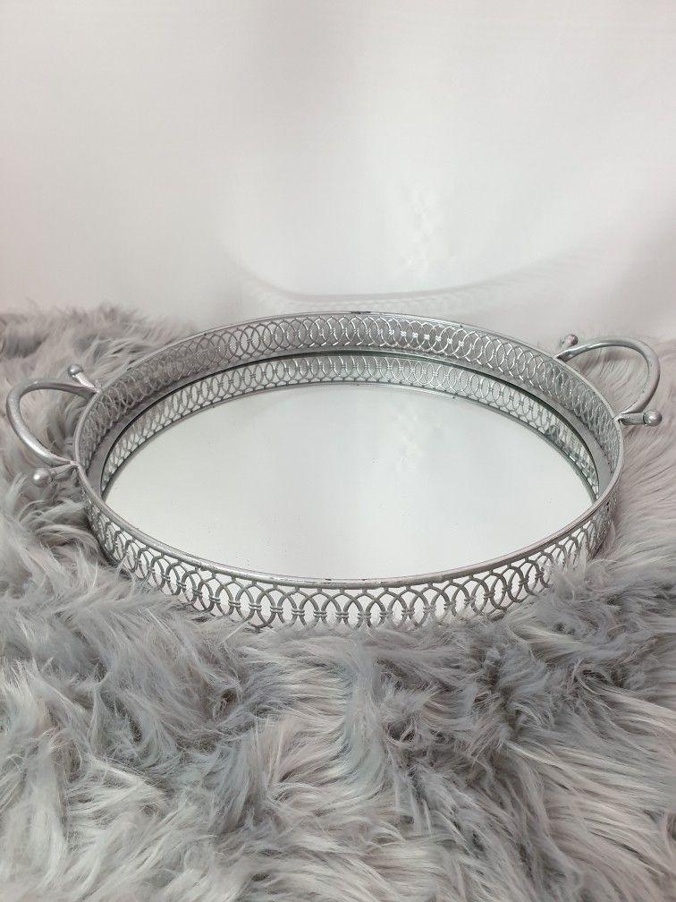 Tablett Dekotablett Metall Kerzen Spiegeltablett Shabby Landhaus Vintage Silber