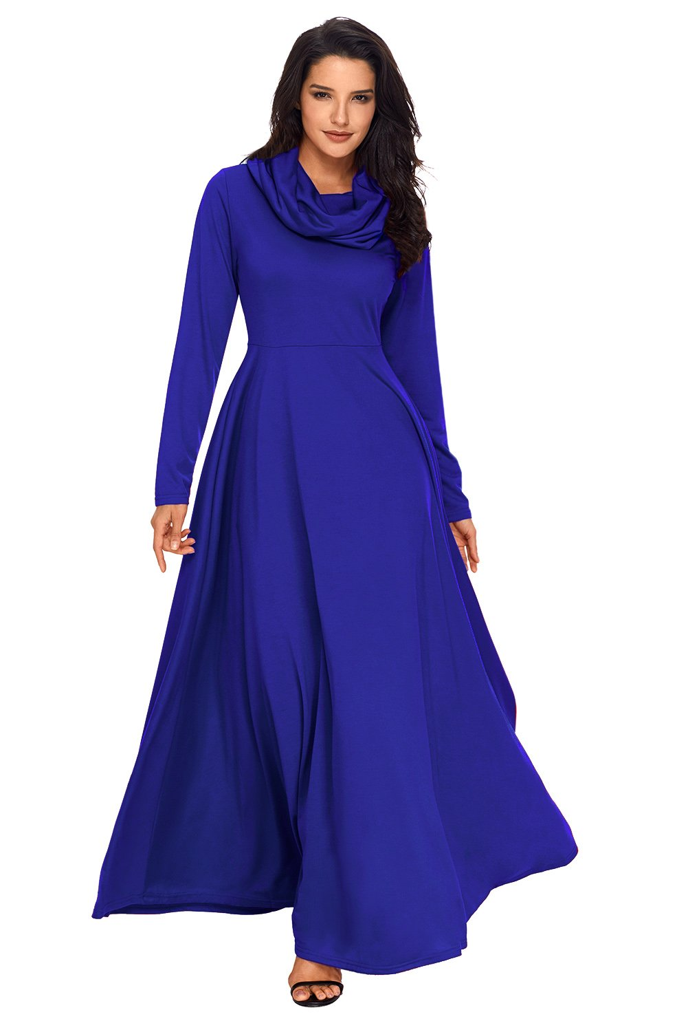Sexy royal blue cow neck long sleeve maxi dress products