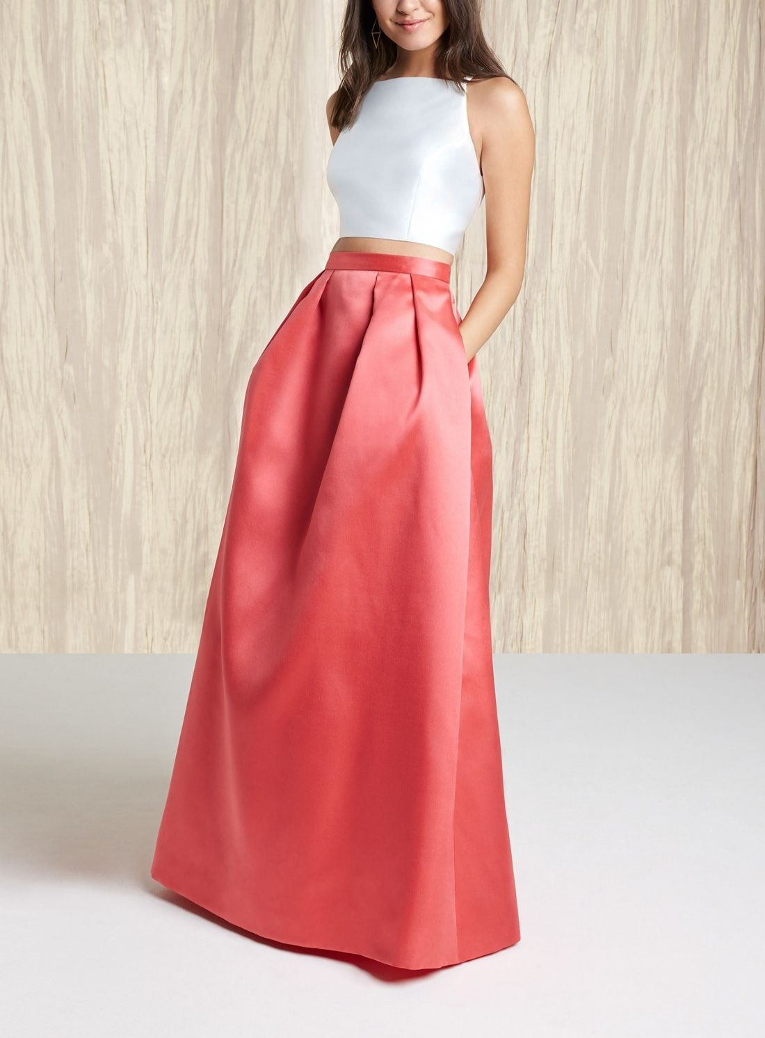 Crushing on this coral and white twopiece satin ballgown for prom