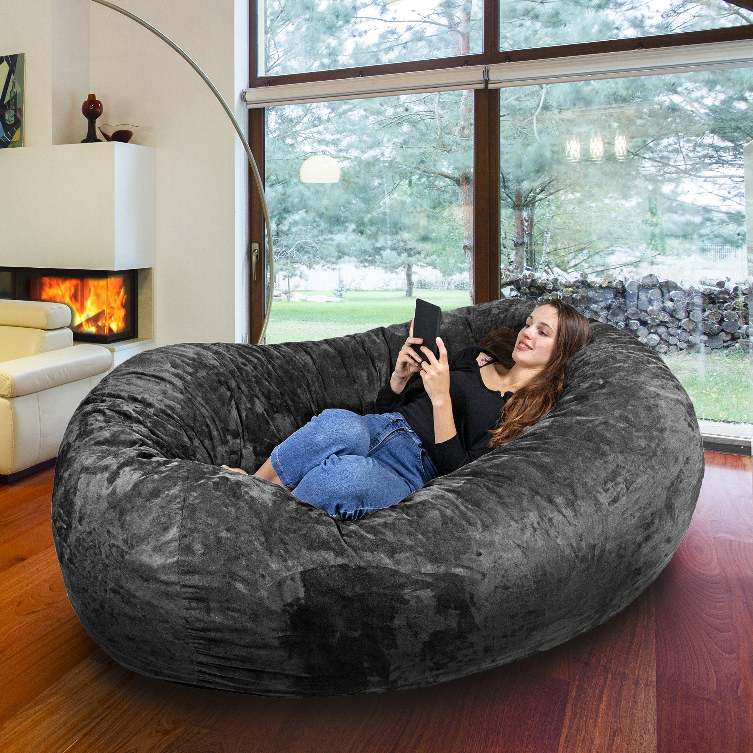 7FT Gigantic Bean Bag Chair in Steel Grey with Memory Foam Filling