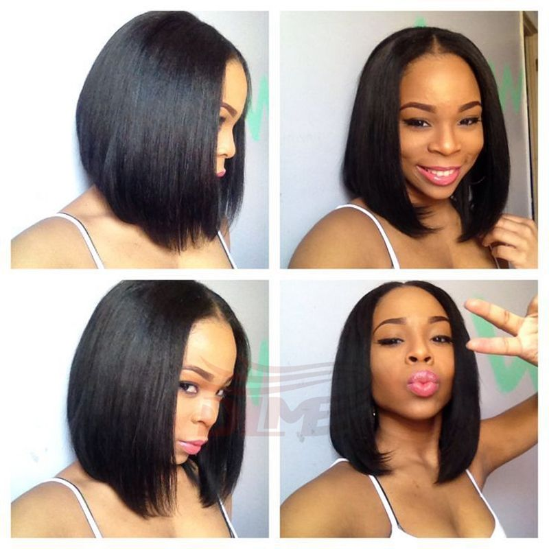 Virgin Human Hair Bob Wigs 130 Density Straight Short Full Lace