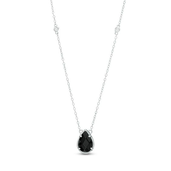 Pear Shaped Onyx And White Topaz Station Necklace In