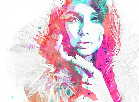 Watercolor And Pencil Premium Photoshop Action Photo