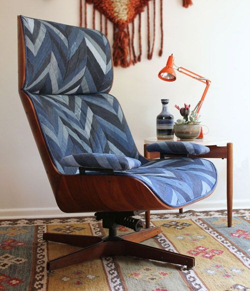 I love this chair makeover on Design Sponge. It looks like old jeans sewn together like a quilt.