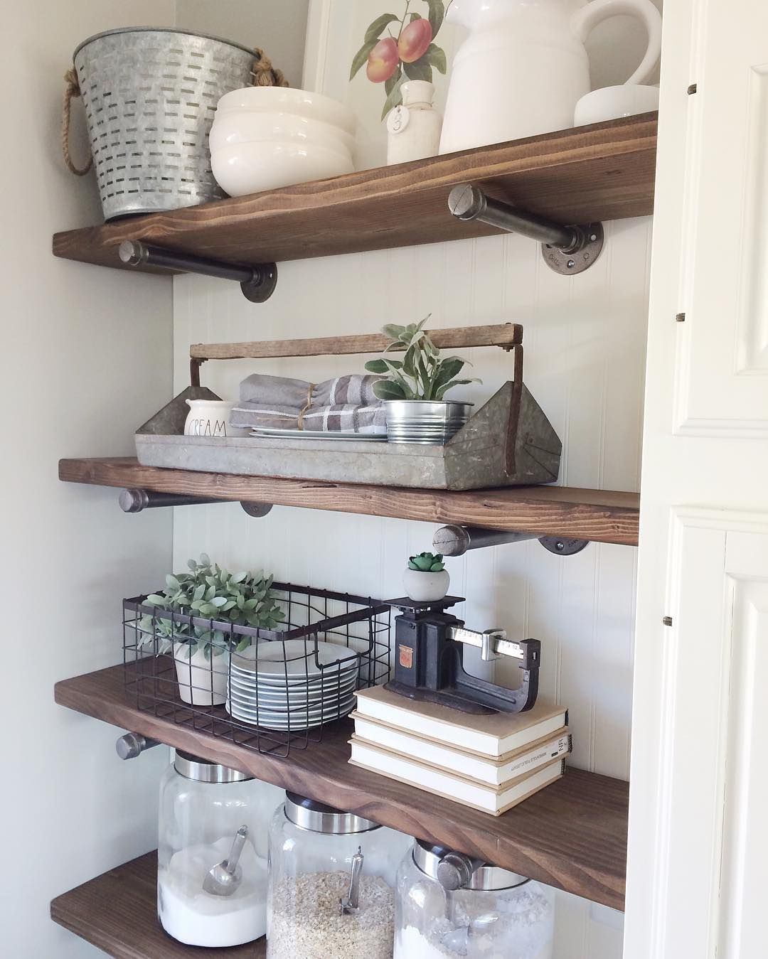 Industrial pipe and wood shelving