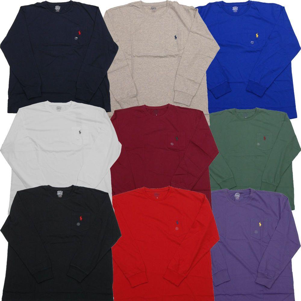 Polo Ralph Lauren Long Sleeve Pocket T-shirts Mens Crew Neck Tee Shirt L/