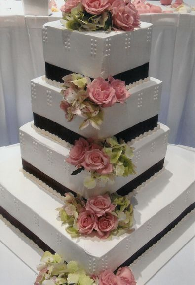 Photo Gallery Non Fondant Wedding Cakes Square Flowers And Ribbon ...