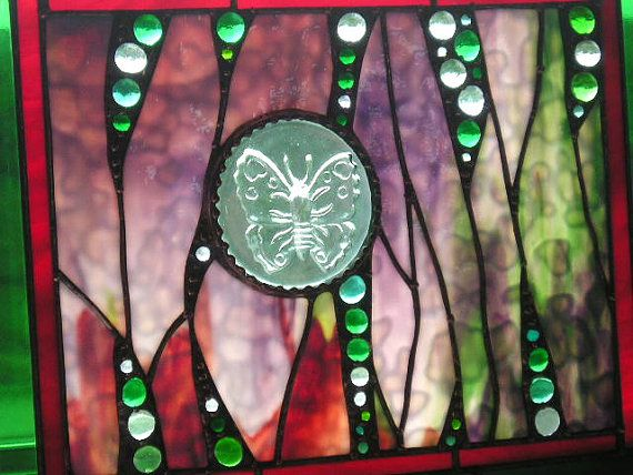 Stained Glass Panel - Butterfly Panel - Green - Red - Plum - Abstract - OOAK - Handcrafted - Made in USA    The background glass in this