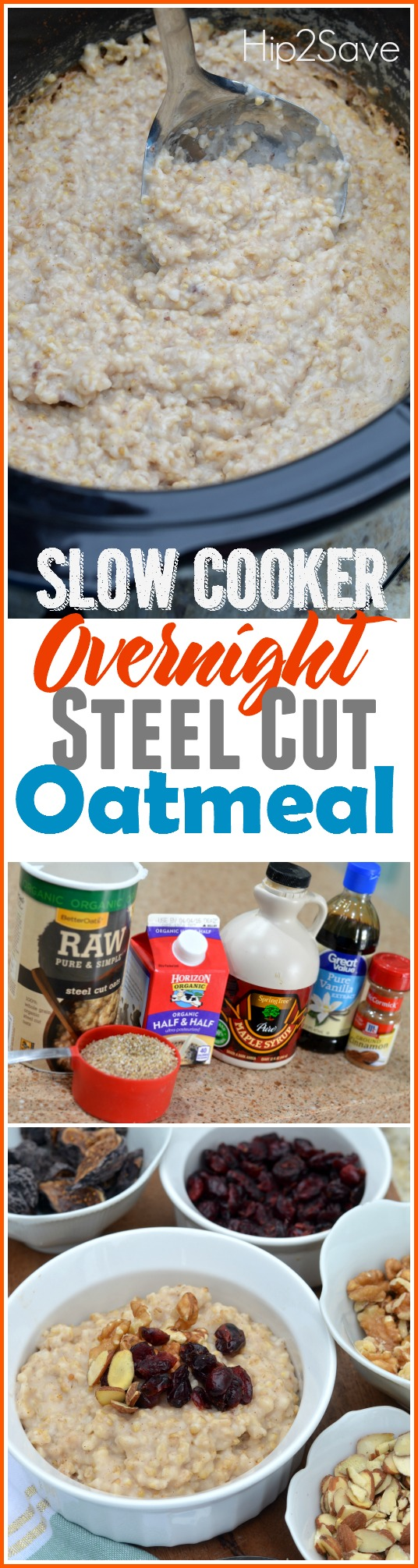 overnight slow cooker steel cut oatmeal. Let your slow cooker do the work and wake up to a wonderful warm bowl of oatmeal. Your tummy will thank you for this breakfast!
