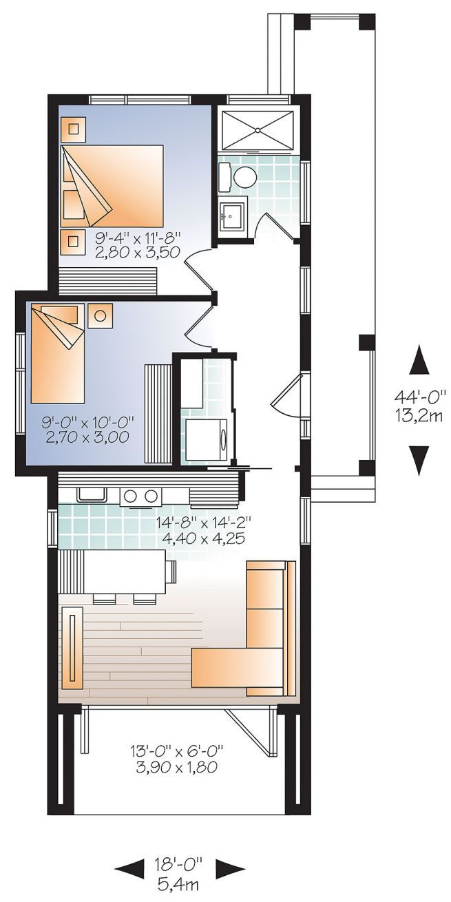 Tiny Home Designs: 1st Level Modern 631 Sq.ft. Tiny House Plan, 2 To 3