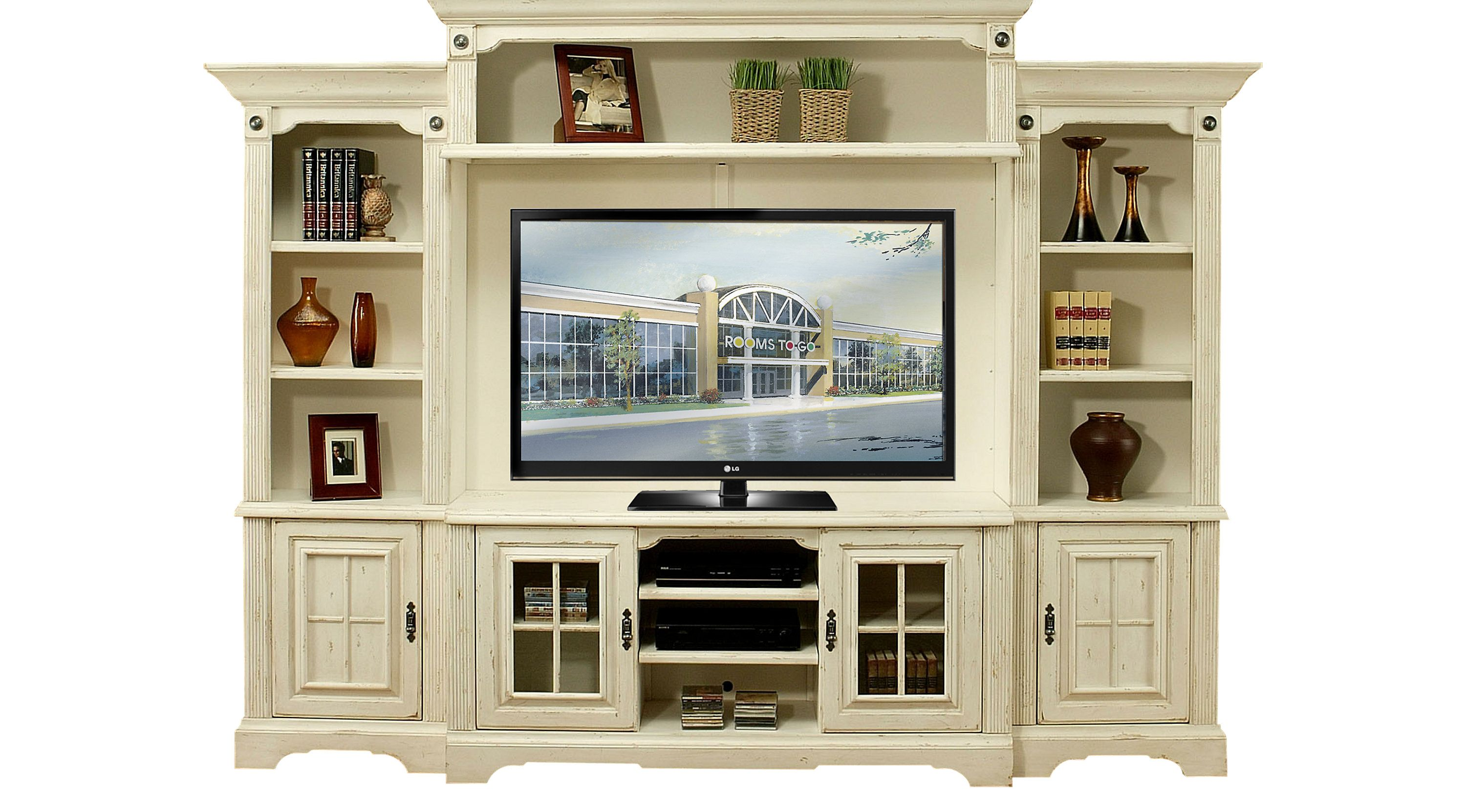 Wall Units Rooms To Go Mountain Bluff White 5 Pc Wall