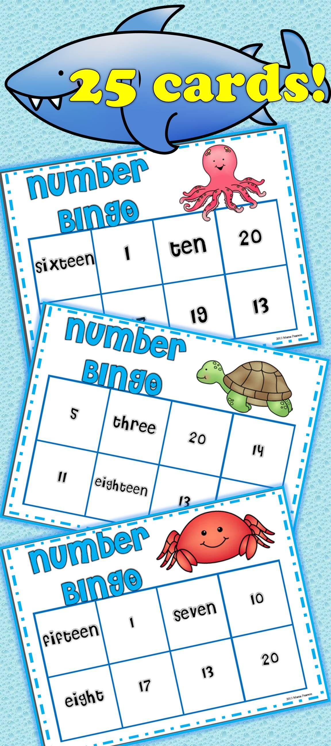 Ocean Number Bingo   Game bingo, Number words and Math
