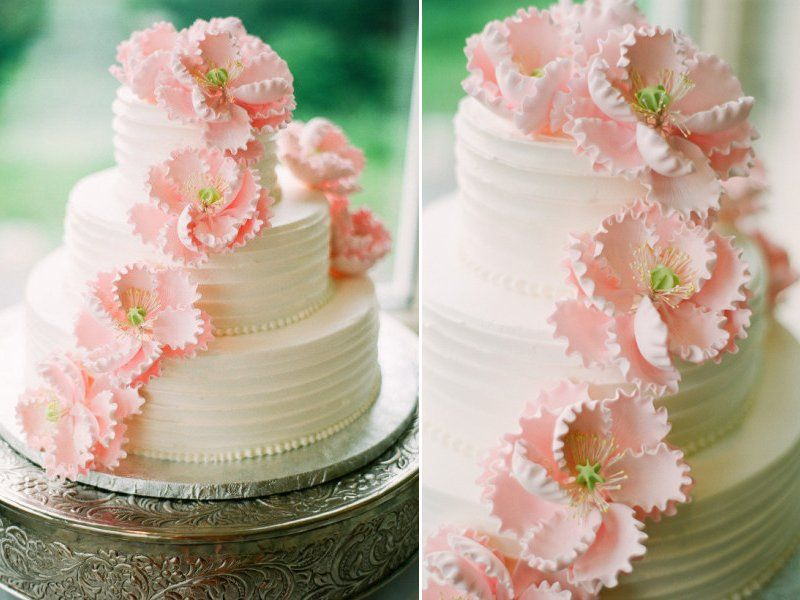 3 Tier Classic Wedding Cake With Light Pink Sugar Flowers And Reception,  Styles, And Video, Cakes, Giveaway Awesome Ideas