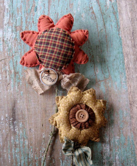 Primitive Fabric Flowers by MockaMooseMarket on Etsy