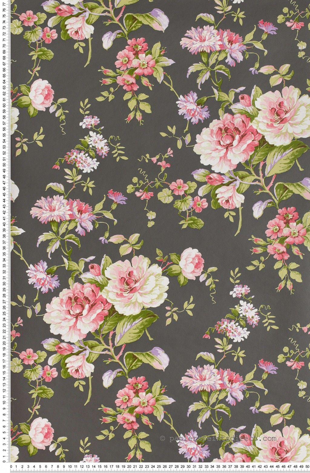Fleurs Claissiques Roses Fond Ardoise Papier Peint Lutece