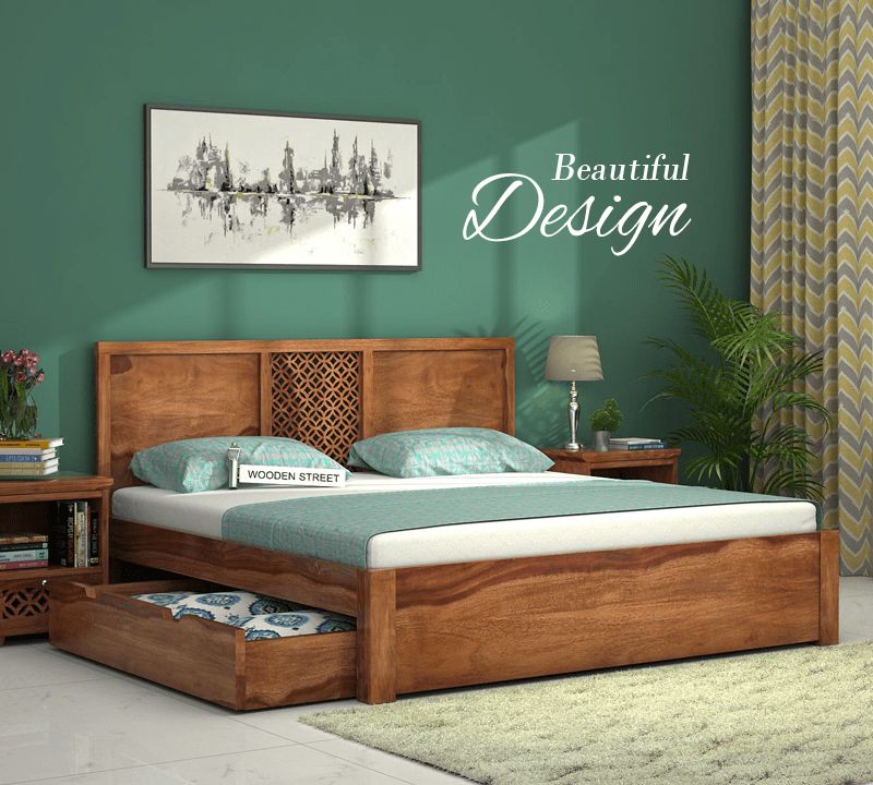 The Cambrey Bed With Exquisite Geometric Pattern Backrest And Under Bed Storage Will Provide A Remarkabl Wooden Bed Design Wood Bed Design Bed Furniture Set