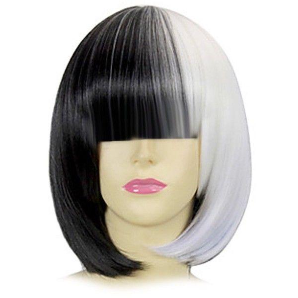 Amazon Cosplay Sia Costume Wig LONG Bangs Two Tone Half Black