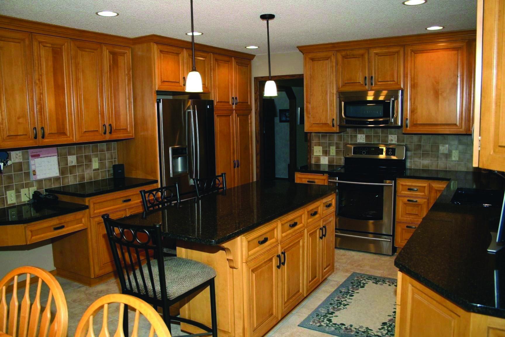 Black Pearl Marble Maple Kitchen Cabinets Modern Oak Kitchen