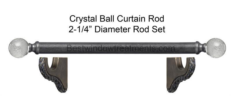 Crystal Ball 2 1 4 Dia Custom Wood Curtain Rod
