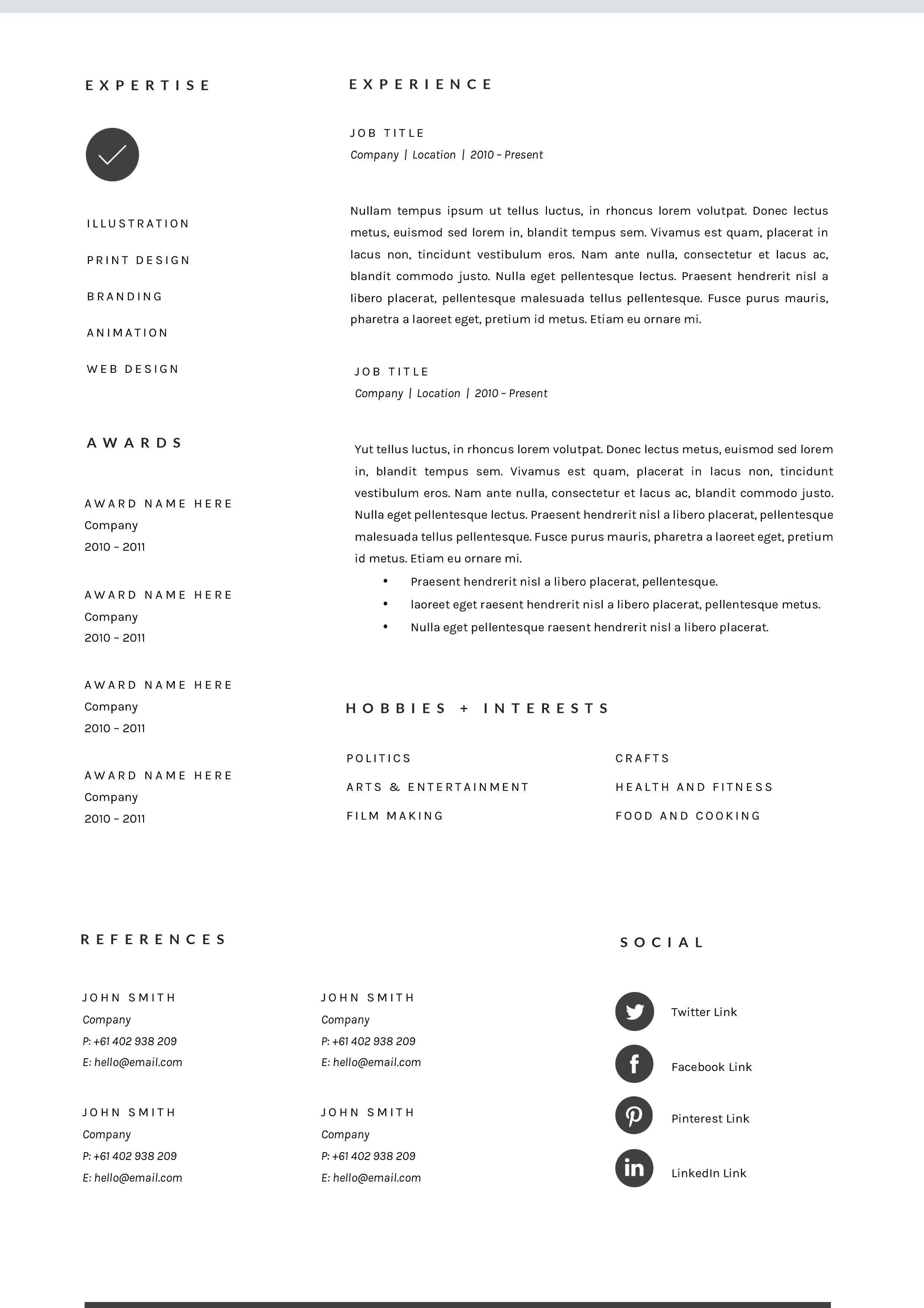 3 Page Resume Template INDD + DOCX Resume template