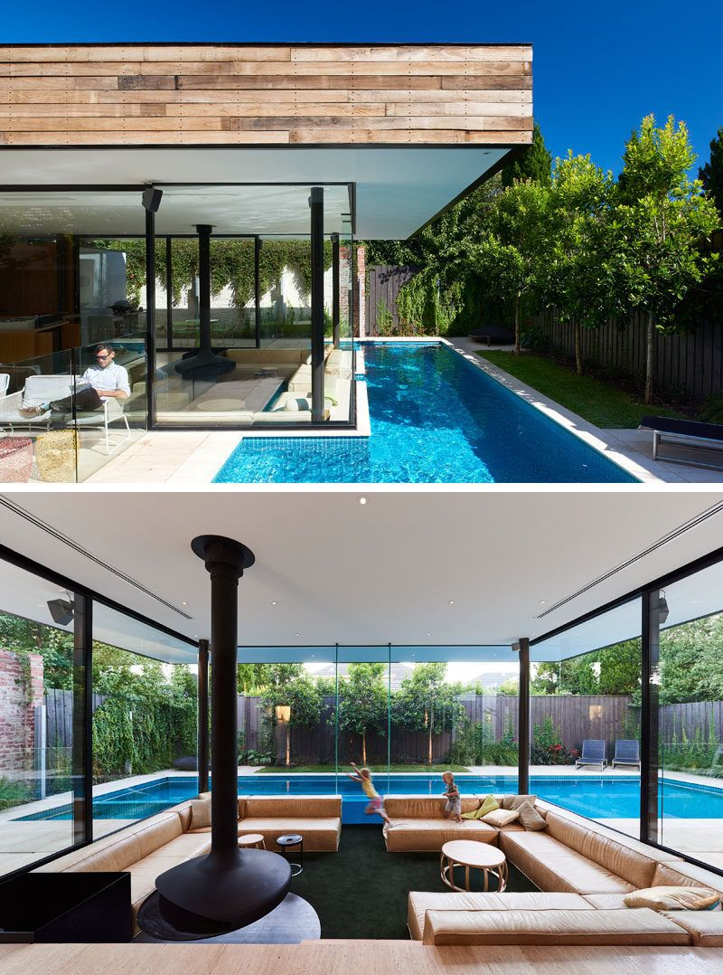 This House Has A Sunken Living Room So People Can Be At The Same Level As Those In The Swimming Pool Next To It In 2020 Pool Houses Sunken Living Room