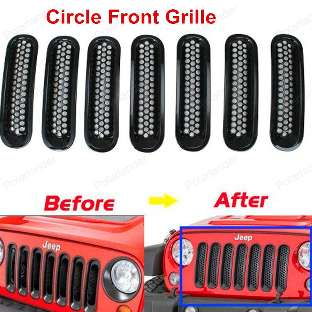 new arrival Auto Car Front Insert Mesh Grill Circle Frame Black 7pc ...