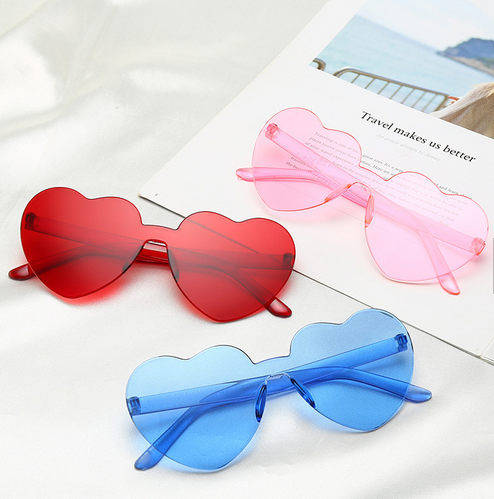 2020 Fashion transparent colorful love heart rimless