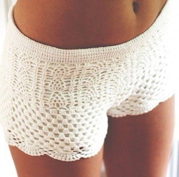 bfa56a79a5 shorts white crochet crochet shorts pretty cute | yarn'n'stuff ...