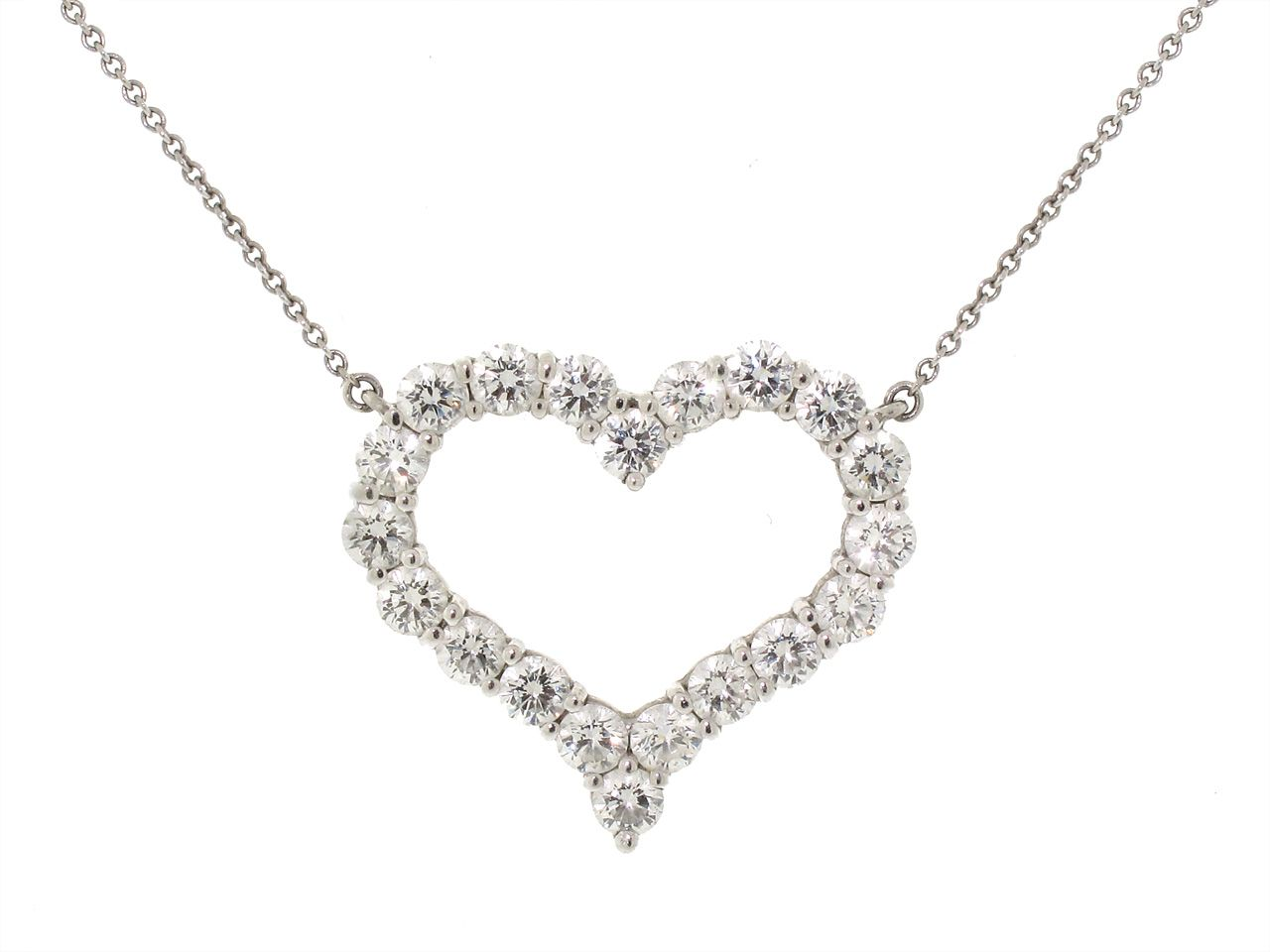 Tiffany u co large diamond heart pendant in platinu