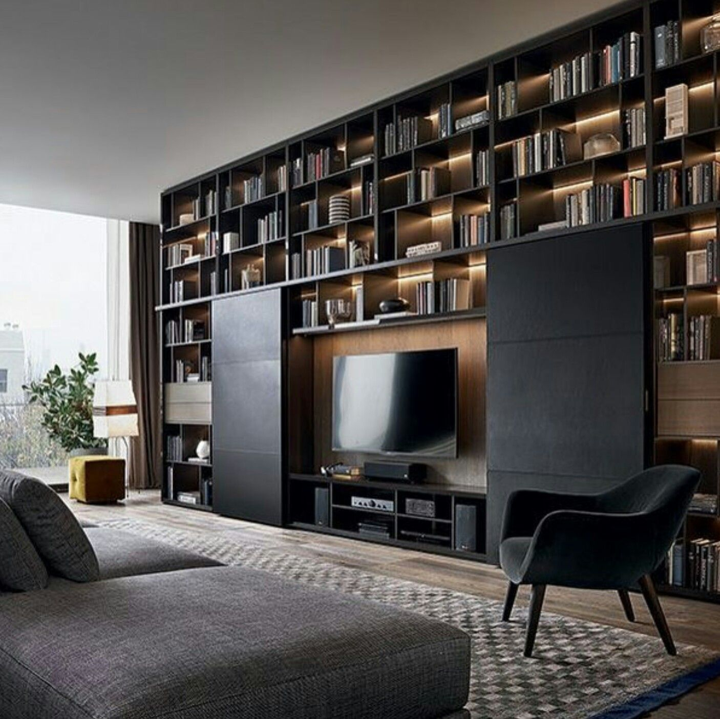 Modern TV Cabinet, with dark theme, and beautiful ...