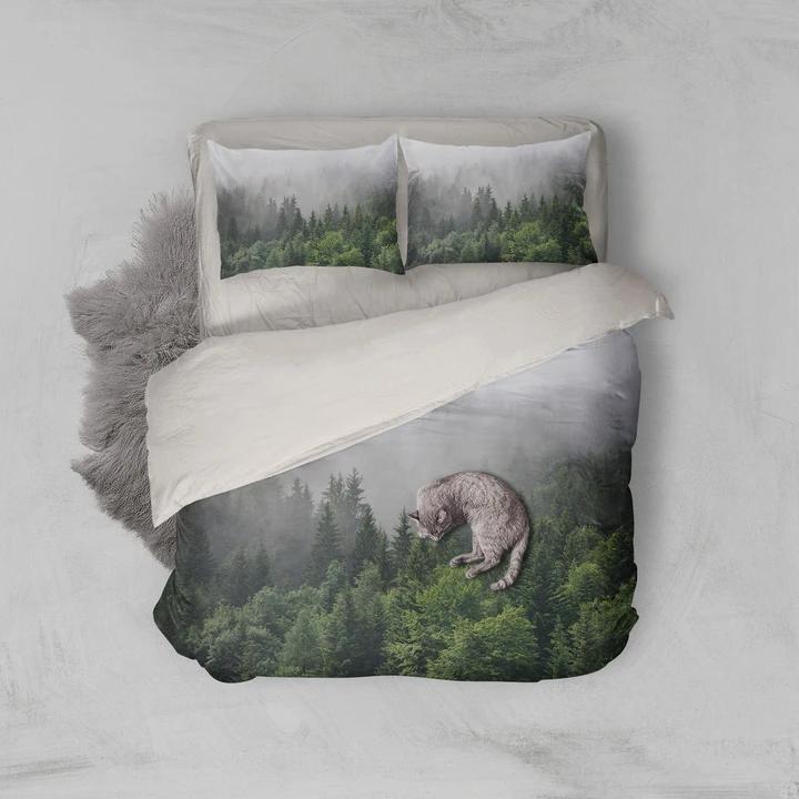 3D Dense fog Pine forest Quilt Cover Set Bedding Set