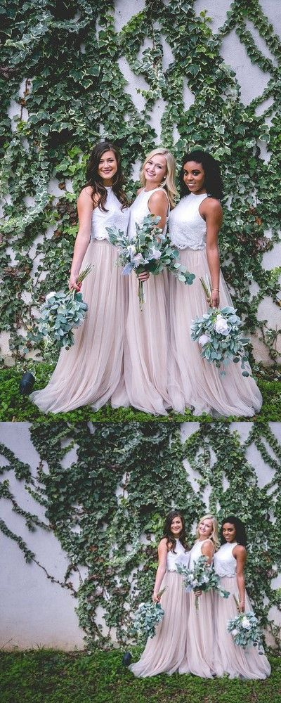 Two Piece Pink Long Bridesmaid Dress With White Top Two Piece Bridesmaid Dresses Lace Bridesmaid Dresses Bridesmade Dresses