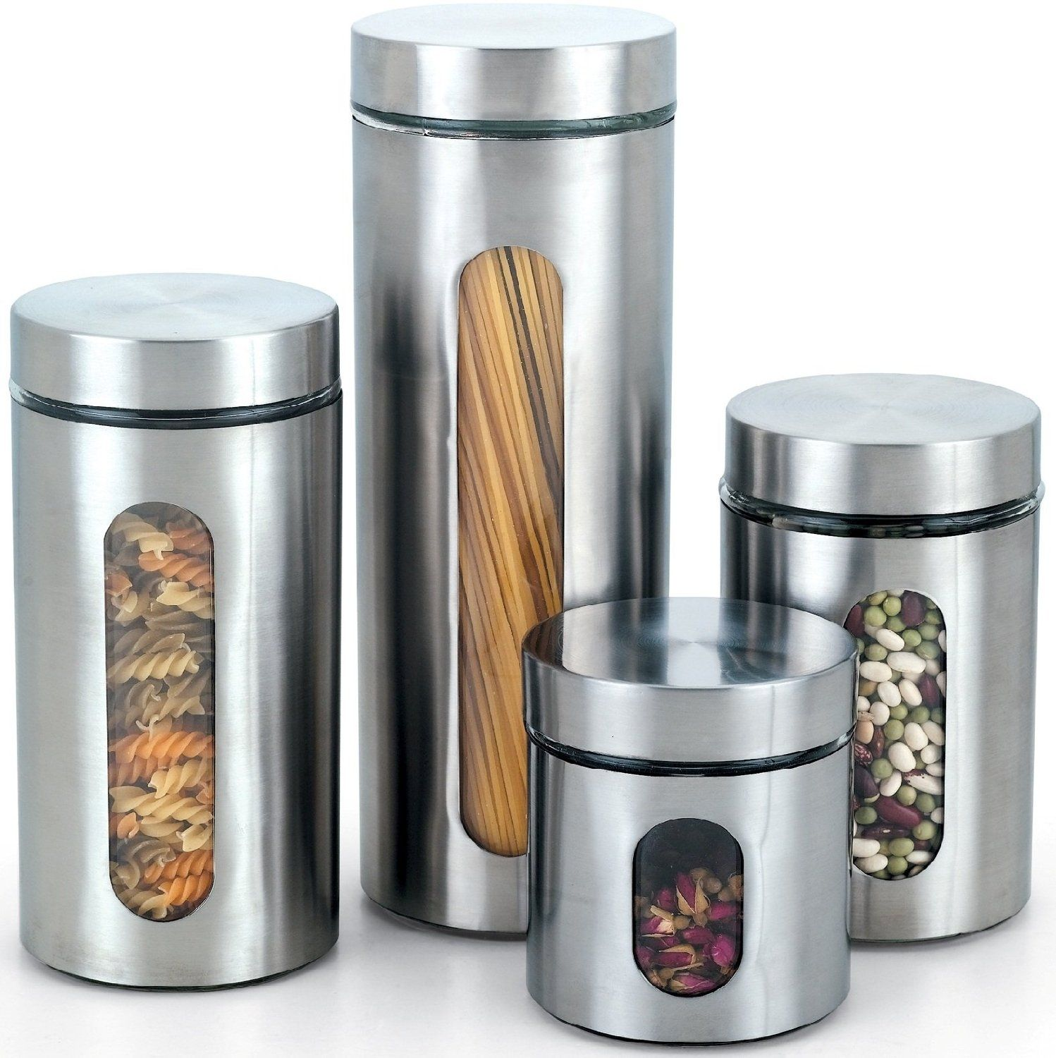 Glass kitchen canisters - Glass Kitchen Canister With Stainless Window Set 4 Piece Cook N Home