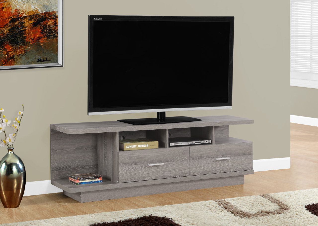 Completez Le Decor De Votre Maison Avec Ce Meuble Tele Taupe Fonce Simple Et Contemporain A Tv Stand With Drawers Tv Stand Decor Living Room 60 Inch Tv Stand