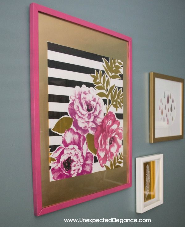 Artwork can be so expensive, especially larger pieces...but there is always a way to get around it. You can make your own from a large piece of scrap wood, architectural salvage or GIFT BAGS! Yes, a gift bag can make the perfect piece of wall art. ;) Have you been down the gift packaging aisle …