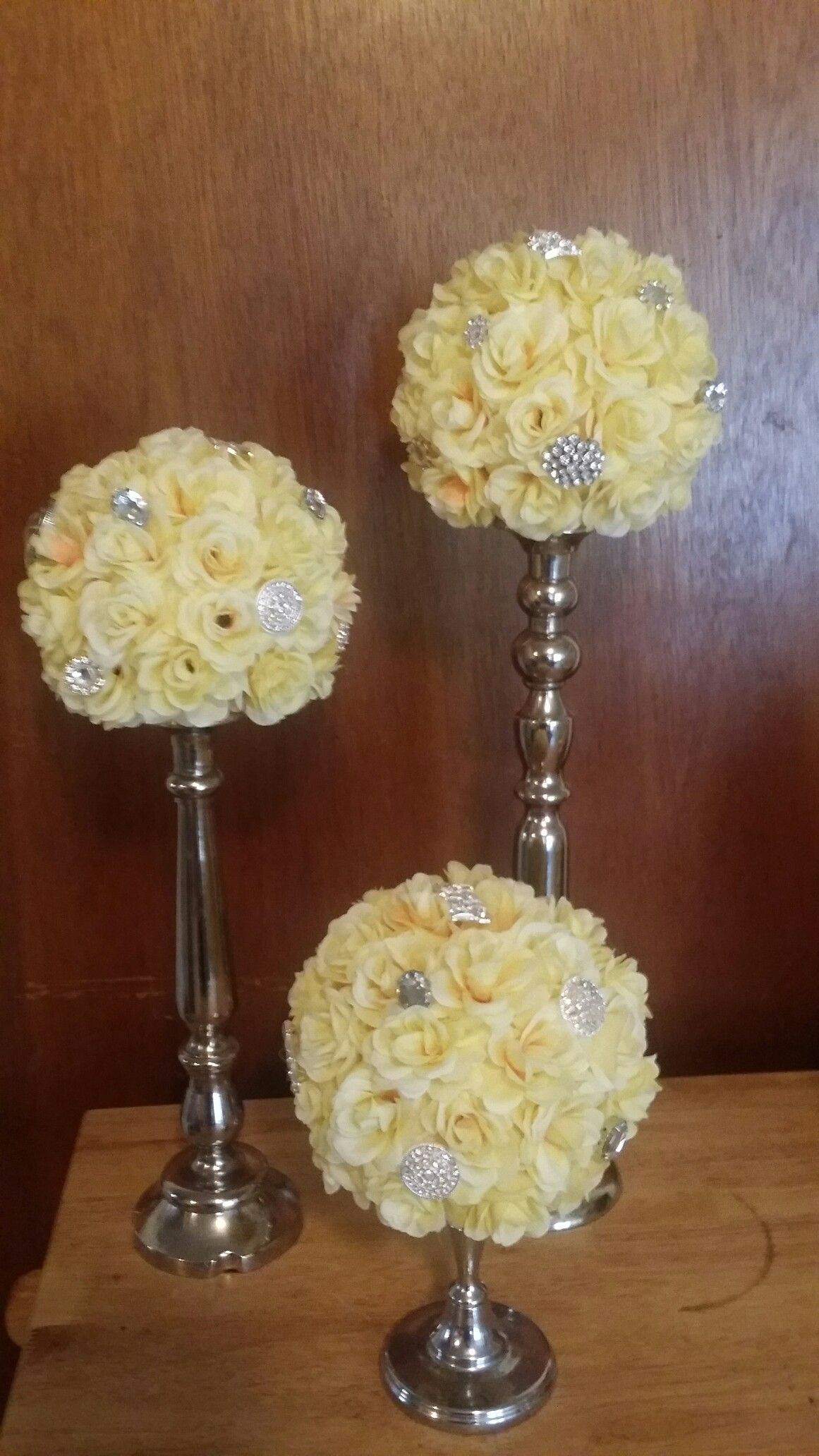 Yellow roses on silver candle holders with bling accents projects