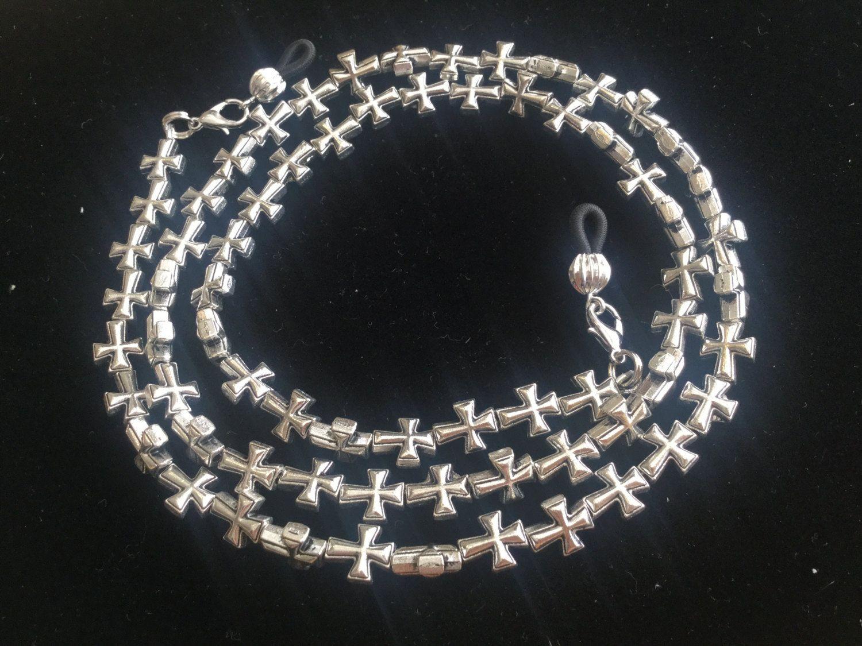 Silver Cross Eyeglass Chain by HeavenlyChains on Etsy
