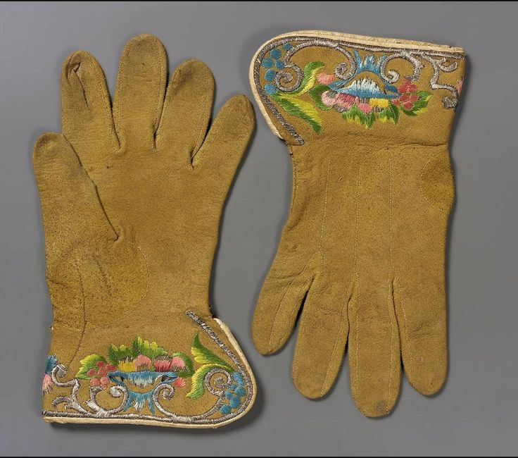 gloves 18th century | 18th century, Italy (?) - Pair of leather gloves - Leather; greenish ...